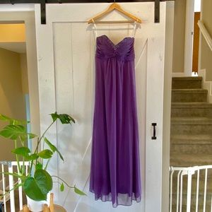 Purple strapless gown with beaded detail!